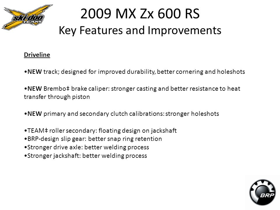 2009 MX Zx 600 RS Key Features and Improvements