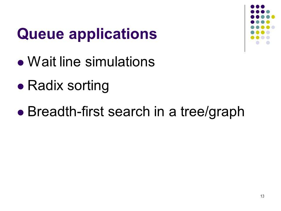 Queue applications Wait line simulations Radix sorting