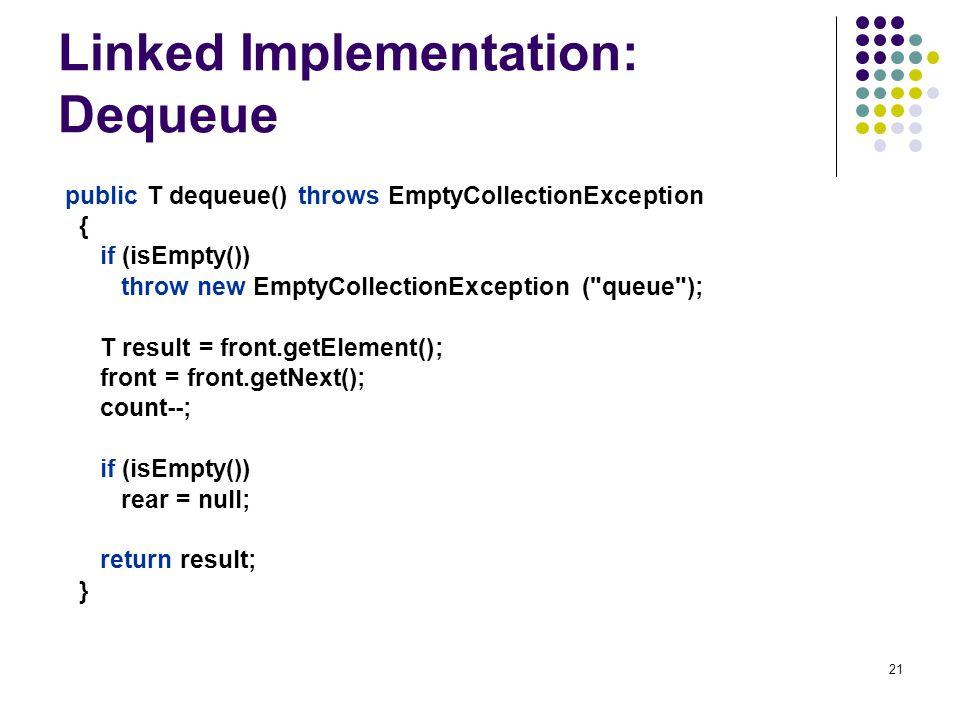 Linked Implementation: Dequeue