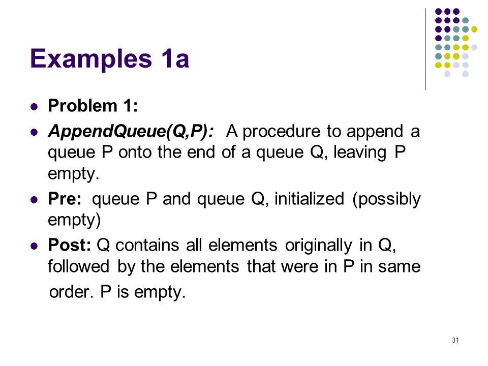 Examples 1a Problem 1: AppendQueue(Q,P): A procedure to append a queue P onto the end of a queue Q, leaving P empty.
