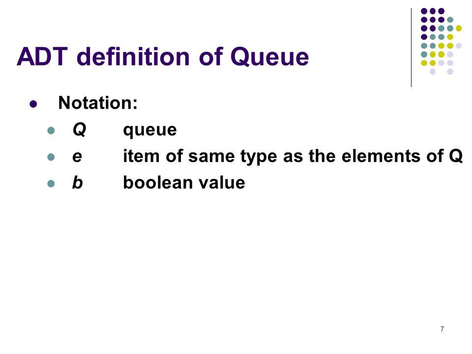 ADT definition of Queue
