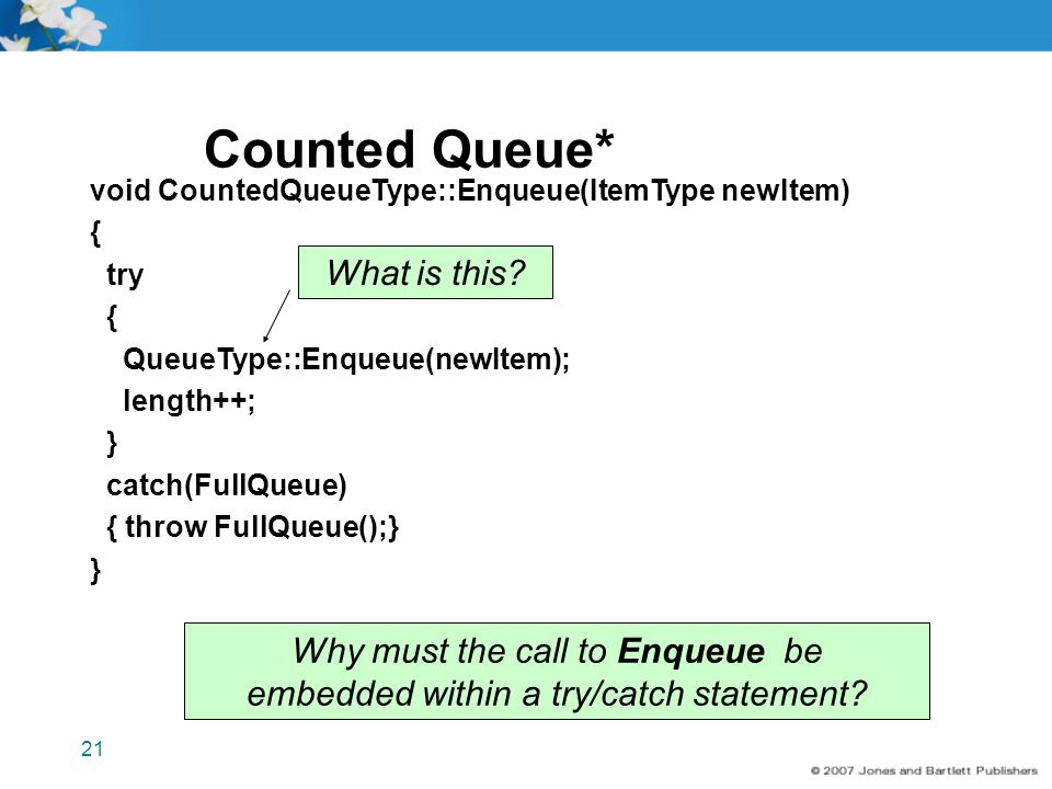 Counted Queue* What is this Why must the call to Enqueue be