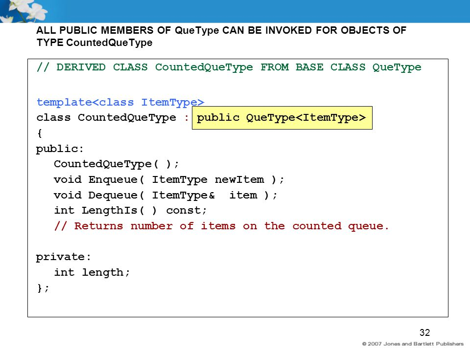 // DERIVED CLASS CountedQueType FROM BASE CLASS QueType