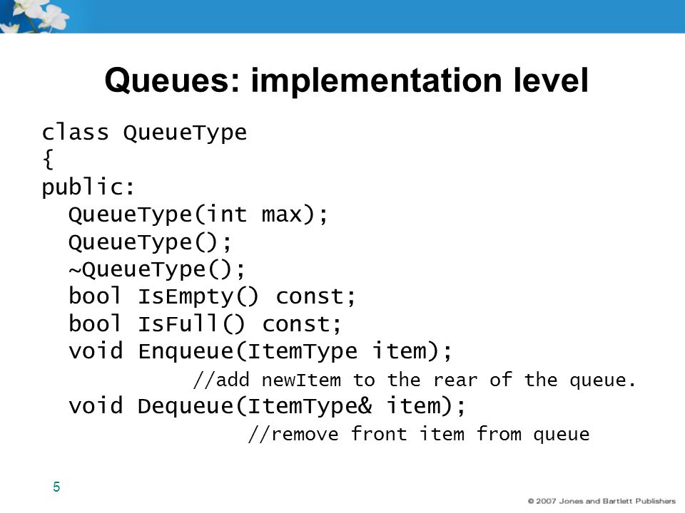 Queues: implementation level