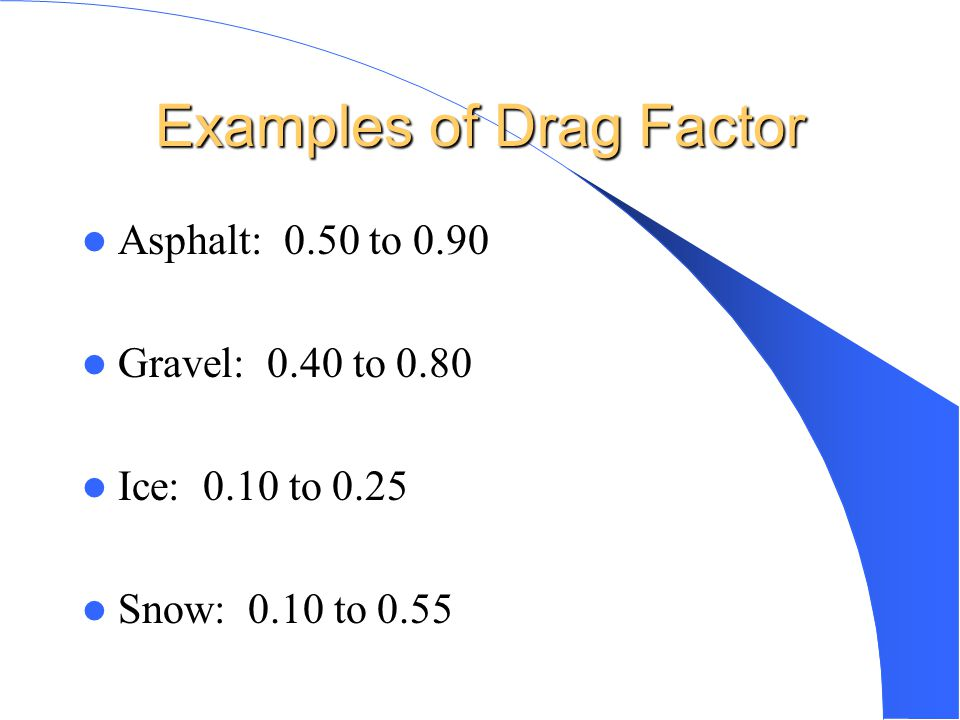 Examples of Drag Factor
