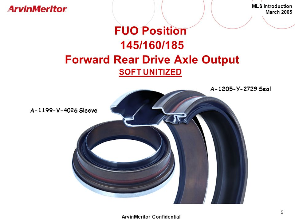 FUO Position 145/160/185 Forward Rear Drive Axle Output SOFT UNITIZED