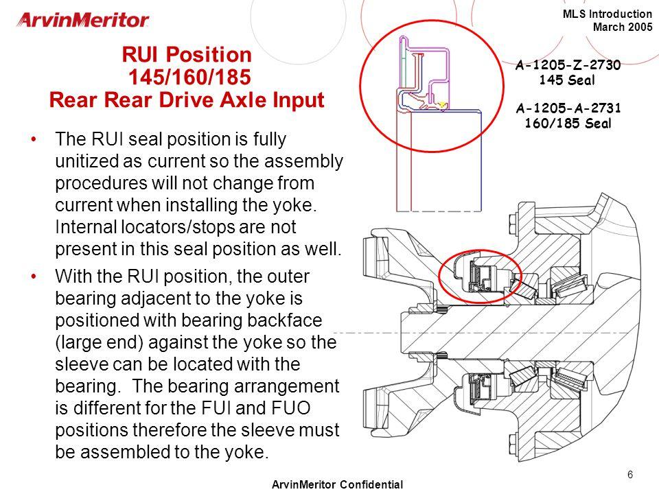 RUI Position 145/160/185 Rear Rear Drive Axle Input