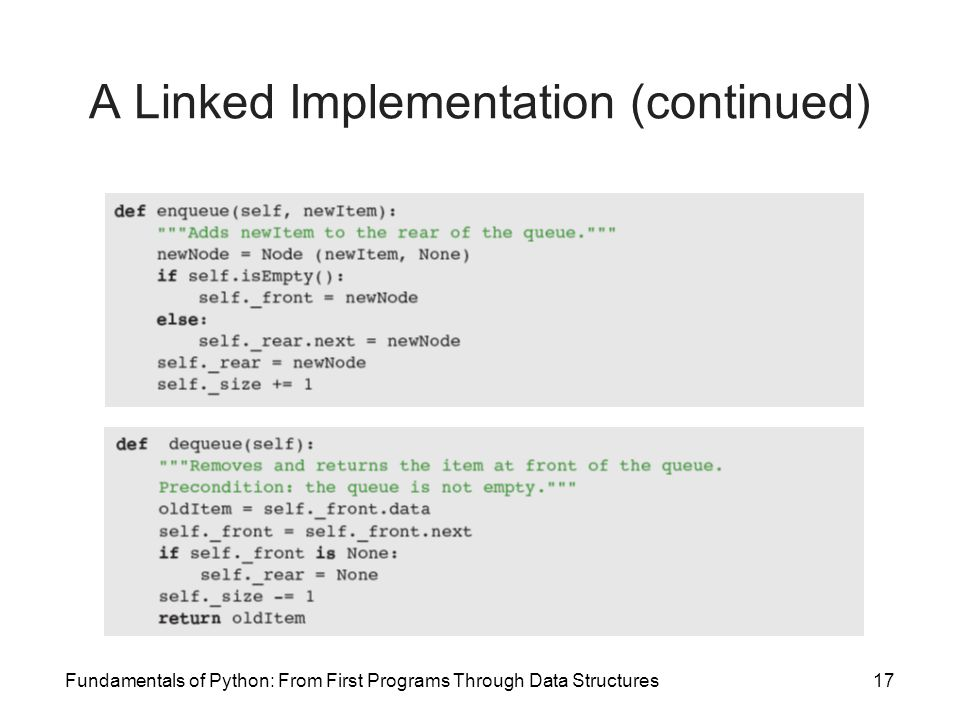 A Linked Implementation (continued)