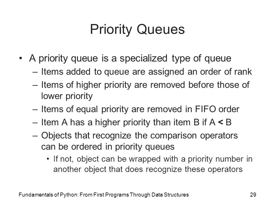 Priority Queues A priority queue is a specialized type of queue