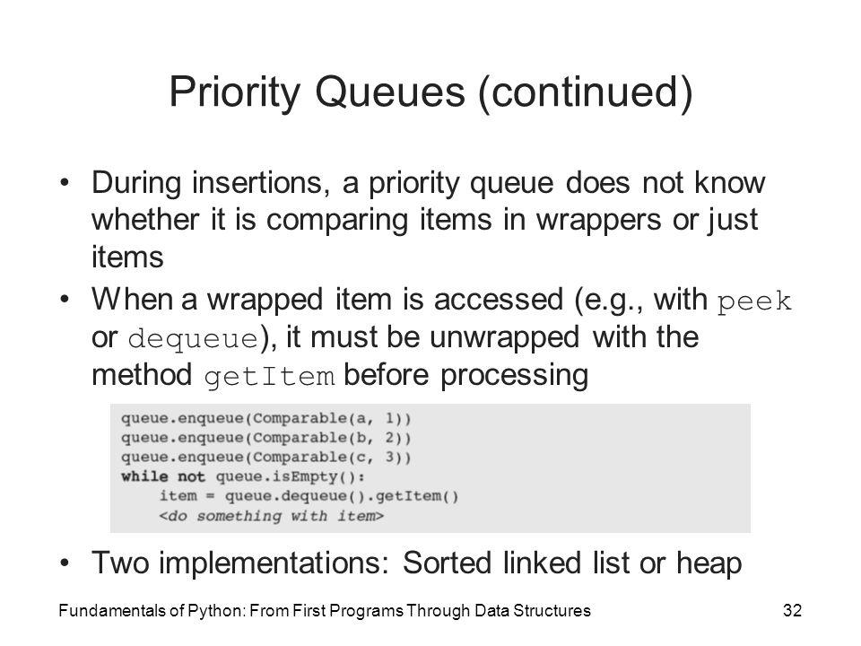 Priority Queues (continued)
