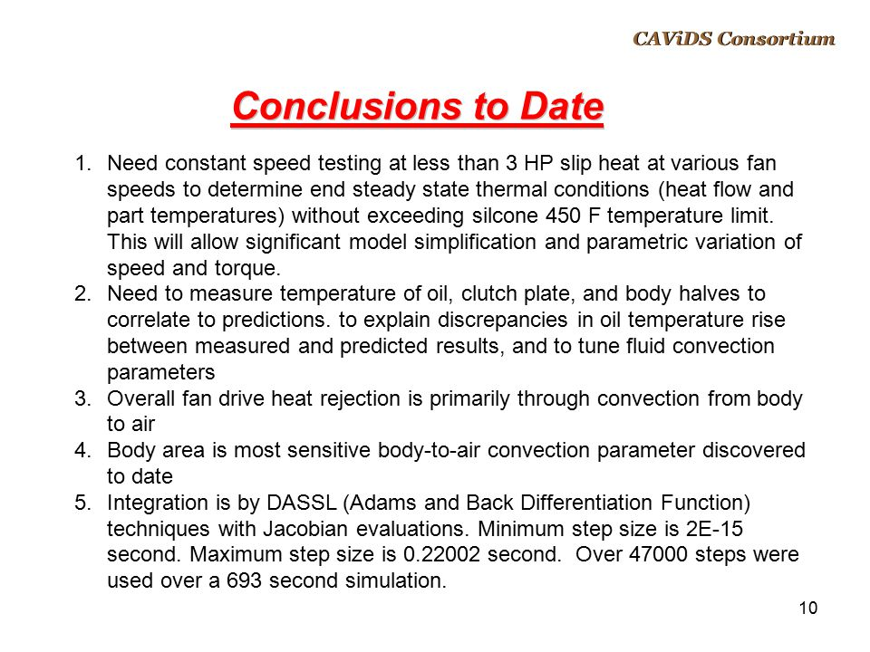 CAViDS Overview April 14, 2017. CAViDS Consortium. Conclusions to Date.