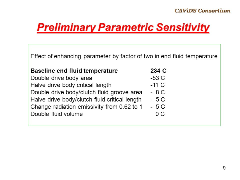 Preliminary Parametric Sensitivity