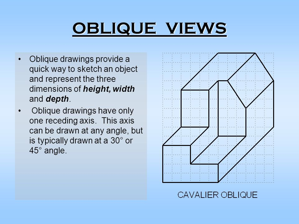 OBLIQUE VIEWS Oblique drawings provide a quick way to sketch an object and represent the three dimensions of height, width and depth.