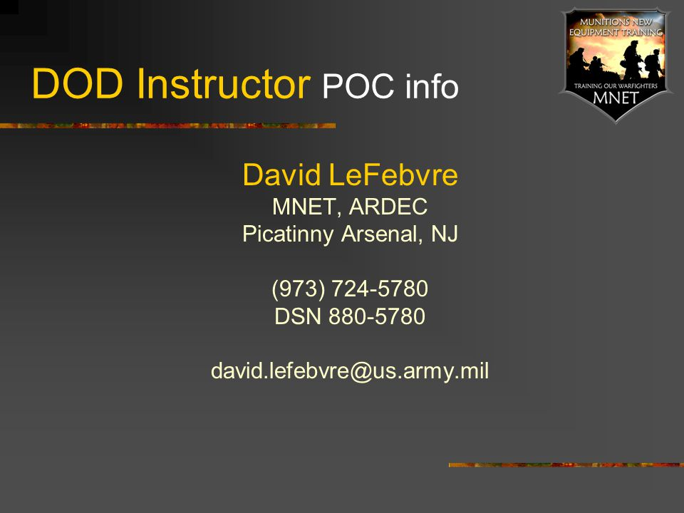 DOD Instructor POC info