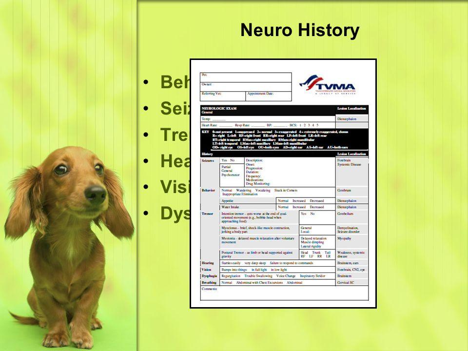 Neuro History Behavior Seizures Tremor Hearing Loss Vision Loss Dysphagia (see form)
