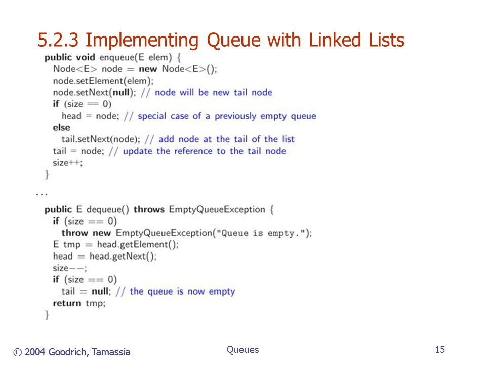5.2.3 Implementing Queue with Linked Lists