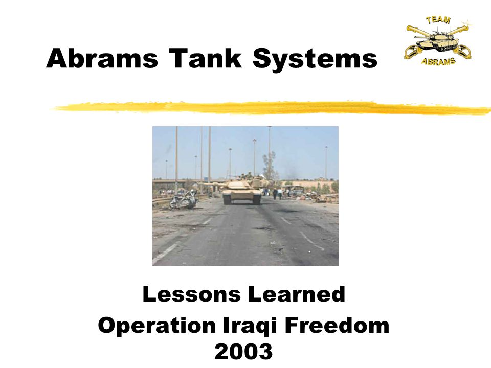 Lessons Learned Operation Iraqi Freedom 2003