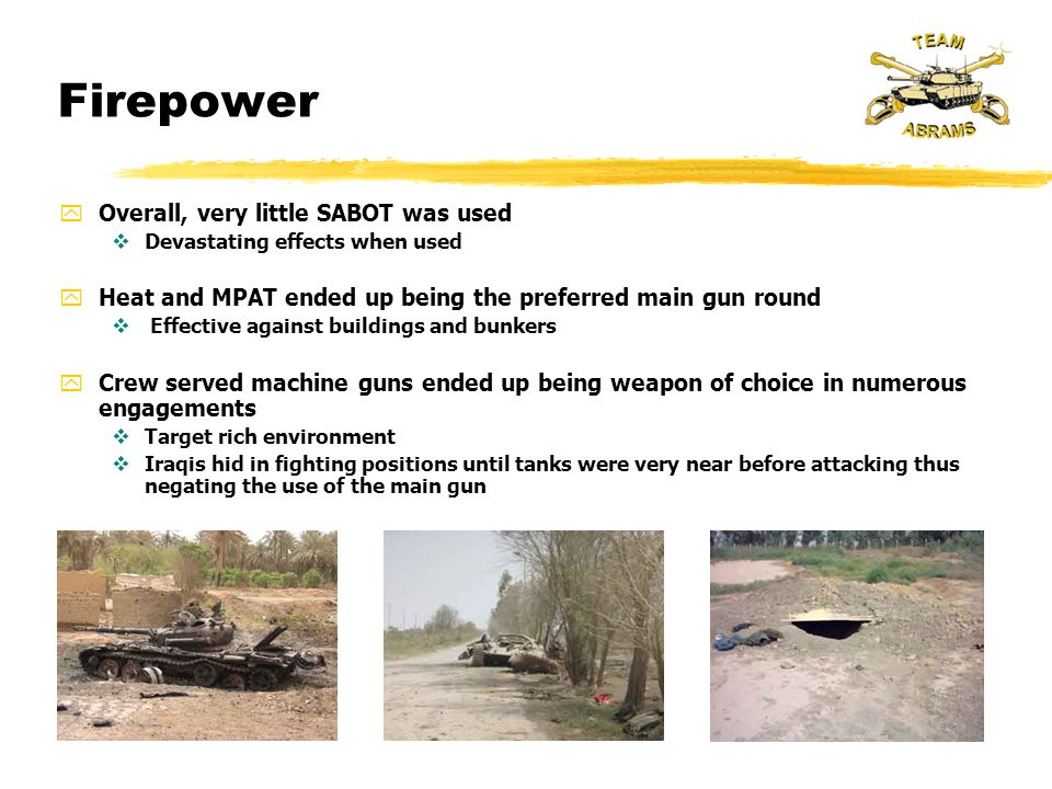 Firepower Overall, very little SABOT was used