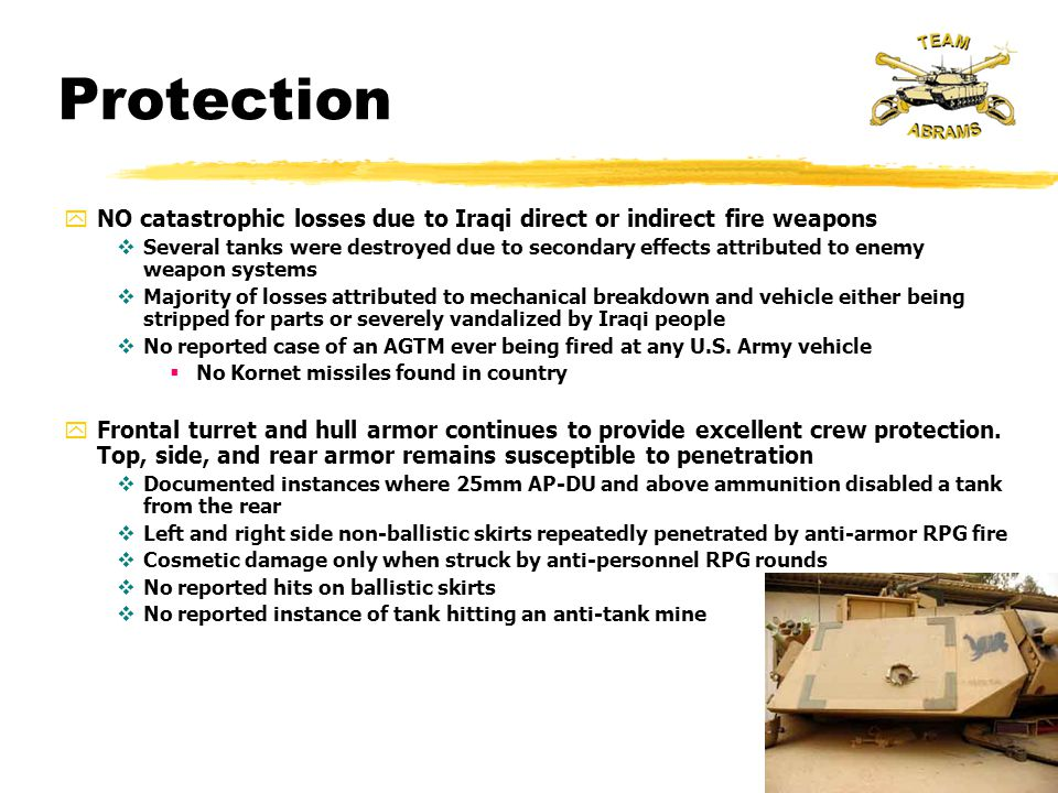 Protection NO catastrophic losses due to Iraqi direct or indirect fire weapons.