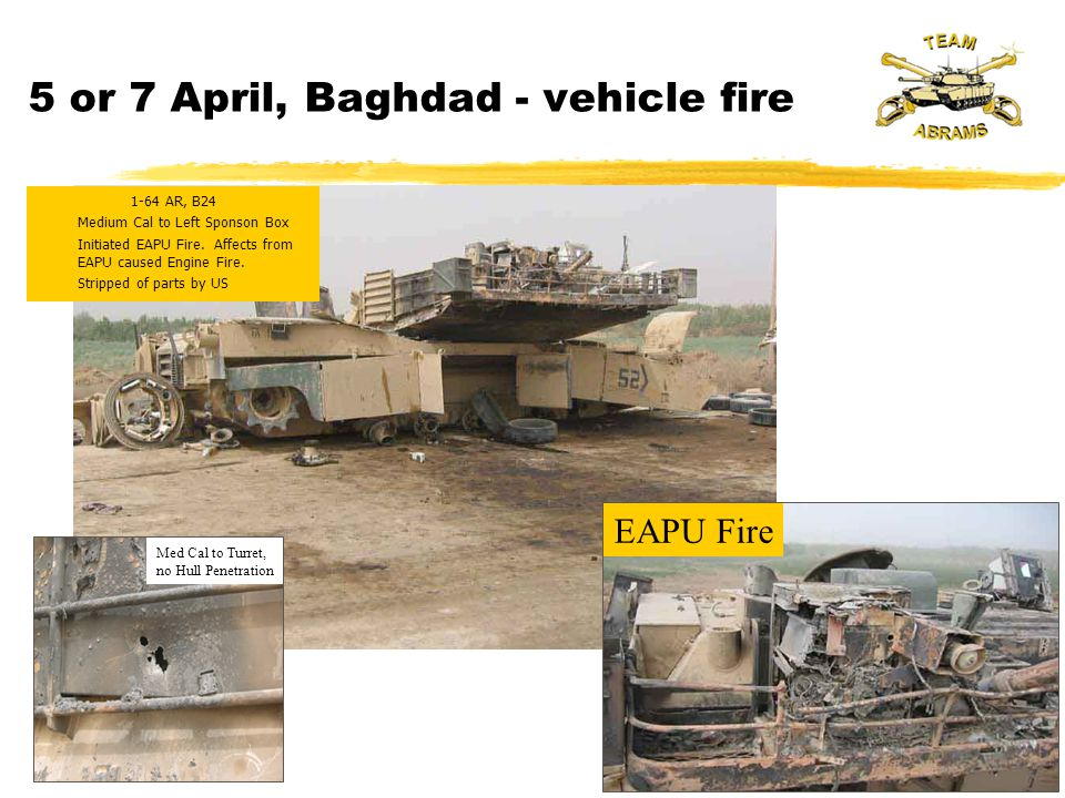 5 or 7 April, Baghdad - vehicle fire