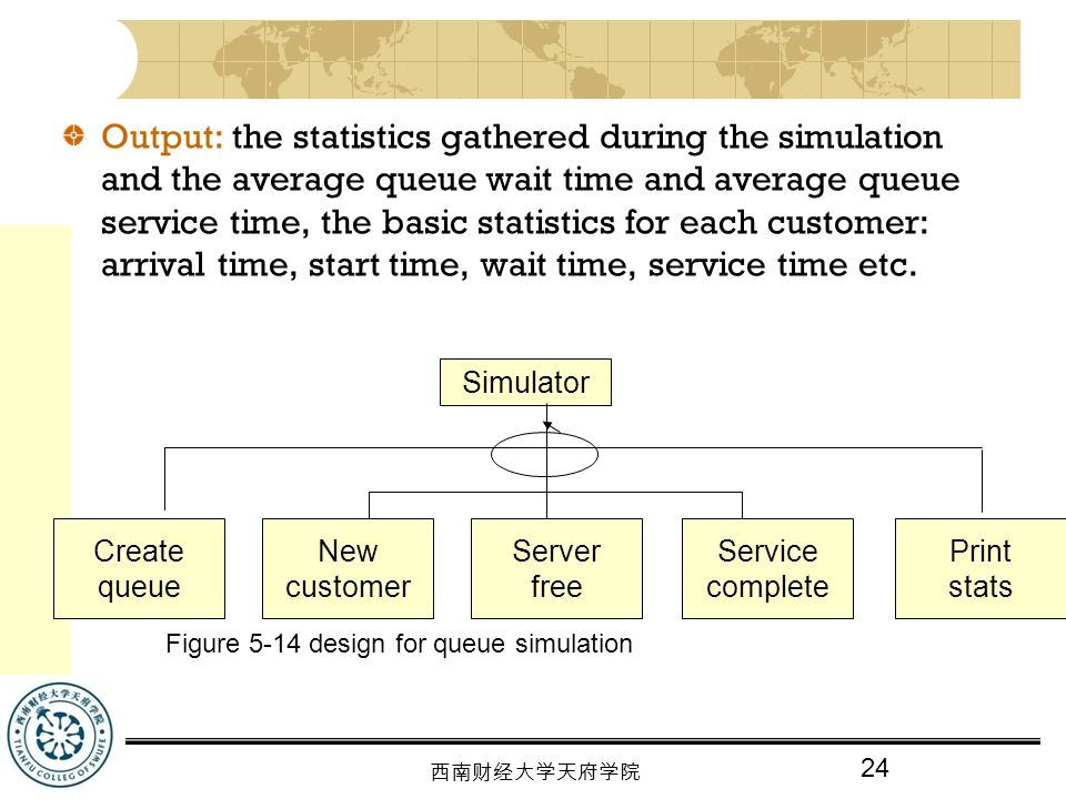 Output: the statistics gathered during the simulation and the average queue wait time and average queue service time, the basic statistics for each customer: arrival time, start time, wait time, service time etc.