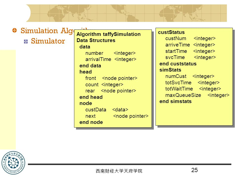 Simulation Algorithm Simulator custStatus Algorithm taffySimulation