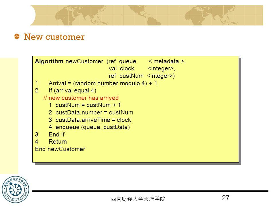 New customer Algorithm newCustomer (ref queue < metadata >,