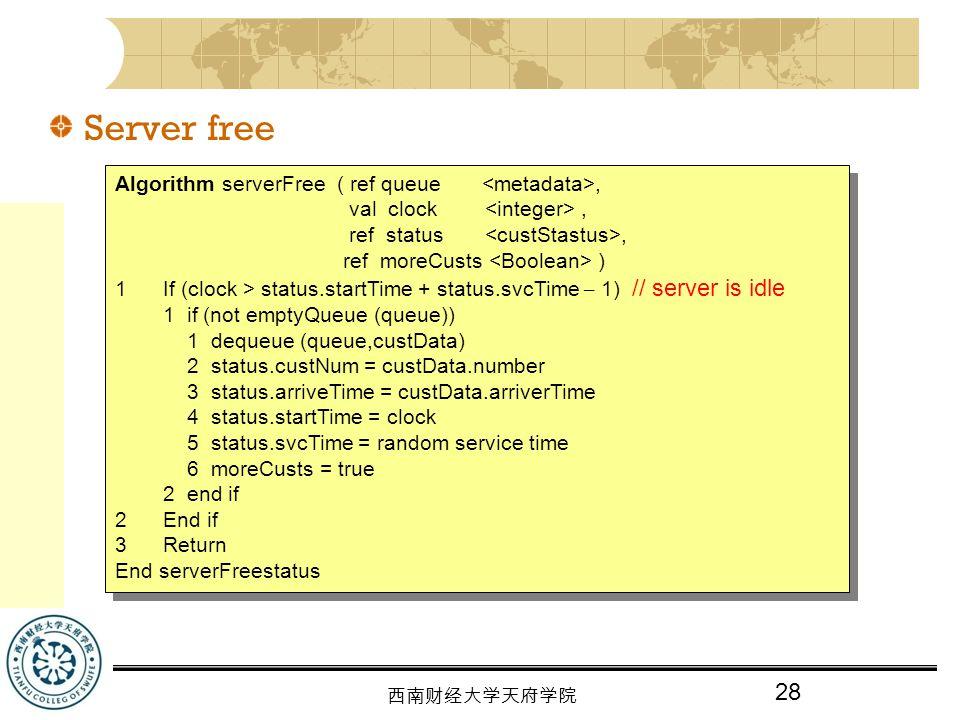 Server free Algorithm serverFree ( ref queue <metadata>,