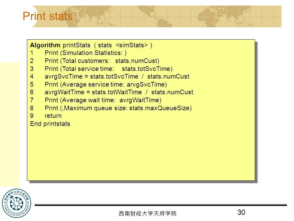 Print stats Algorithm printStats ( stats <simStats> )