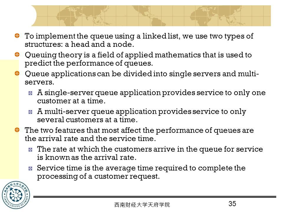 To implement the queue using a linked list, we use two types of structures: a head and a node.