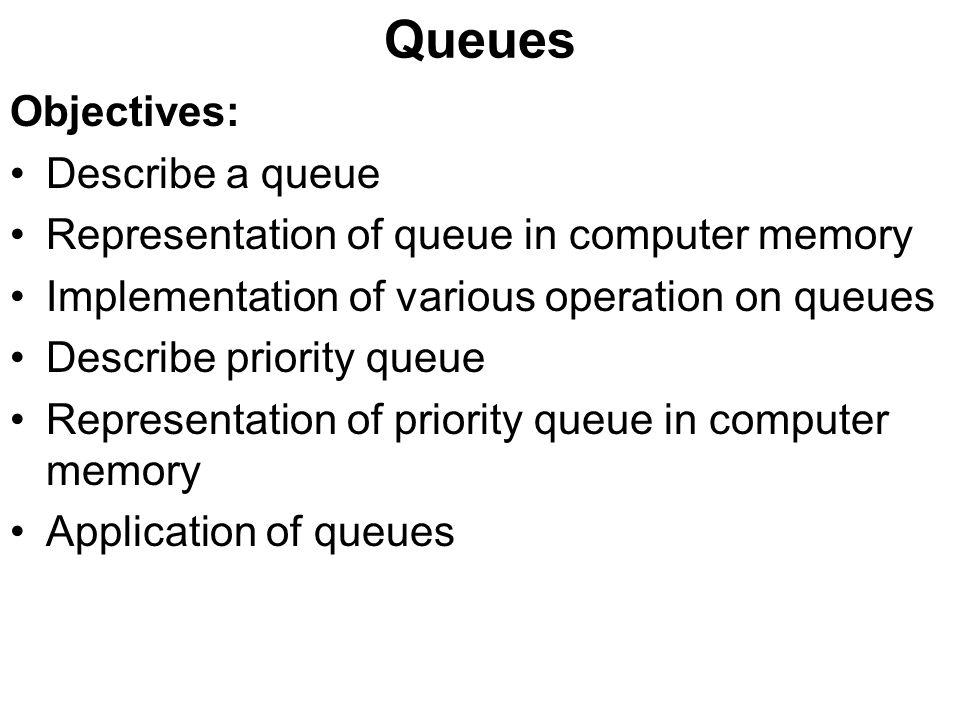 Queues Objectives: Describe a queue