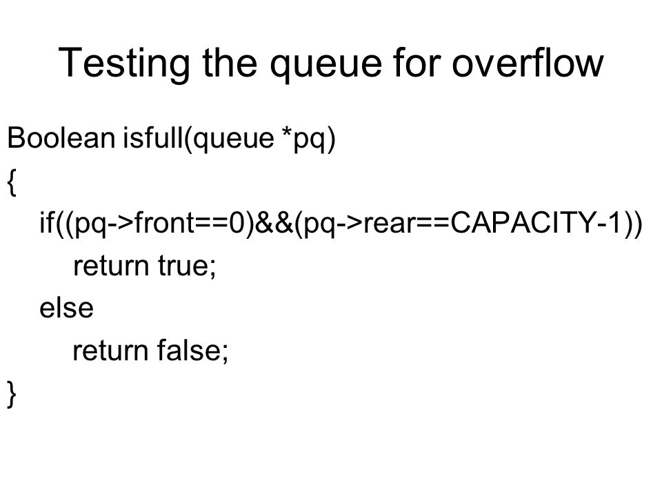 Testing the queue for overflow