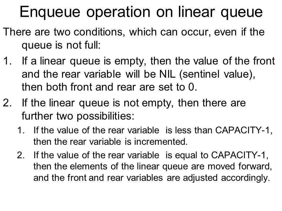 Enqueue operation on linear queue
