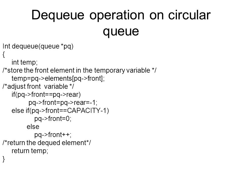 Dequeue operation on circular queue