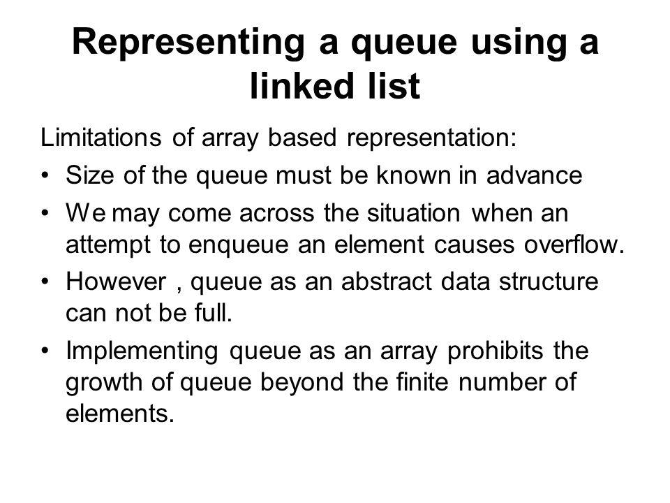 Representing a queue using a linked list
