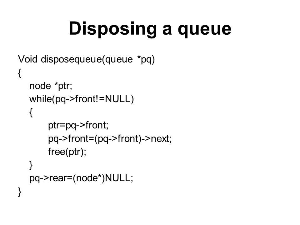 Disposing a queue Void disposequeue(queue *pq) { node *ptr;