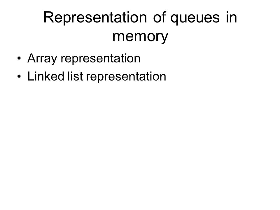 Representation of queues in memory