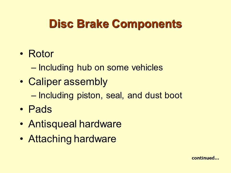 Disc Brake Components Rotor Caliper assembly Pads Antisqueal hardware