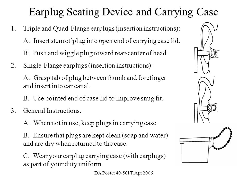 Earplug Seating Device and Carrying Case