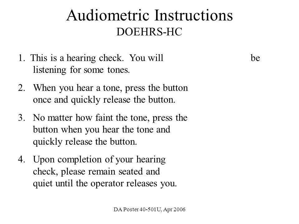 Audiometric Instructions DOEHRS-HC