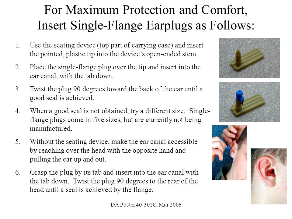 For Maximum Protection and Comfort, Insert Single-Flange Earplugs as Follows: