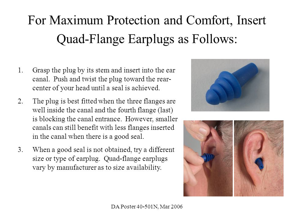 For Maximum Protection and Comfort, Insert Quad-Flange Earplugs as Follows: