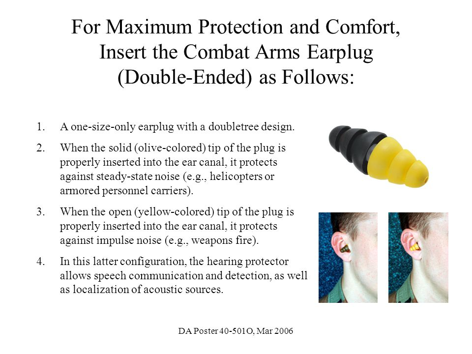For Maximum Protection and Comfort, Insert the Combat Arms Earplug (Double-Ended) as Follows: