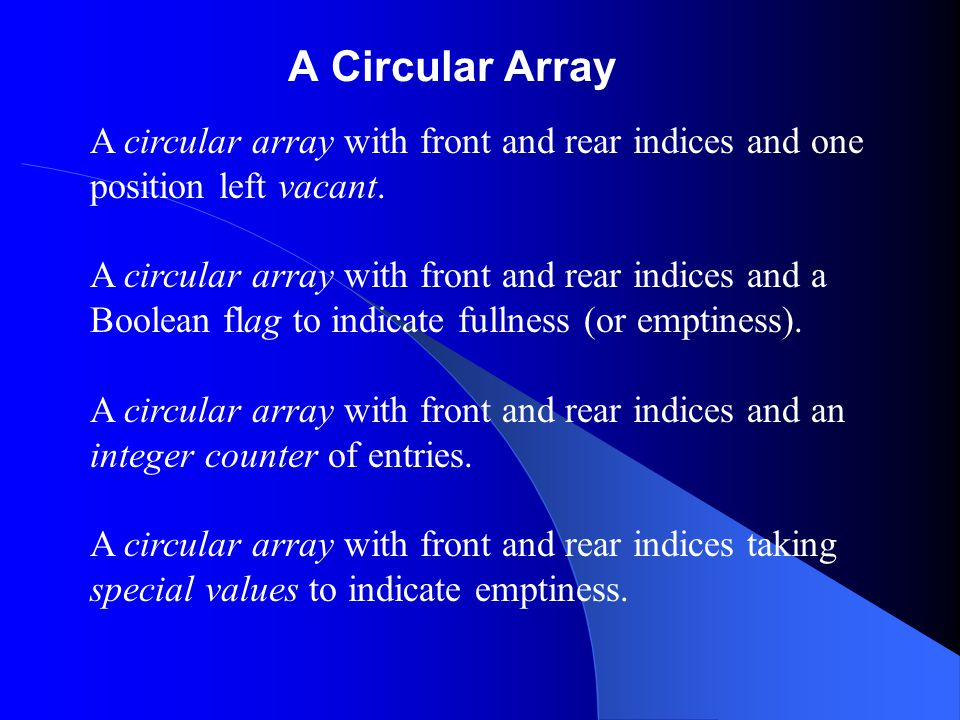 A Circular Array A circular array with front and rear indices and one position left vacant.