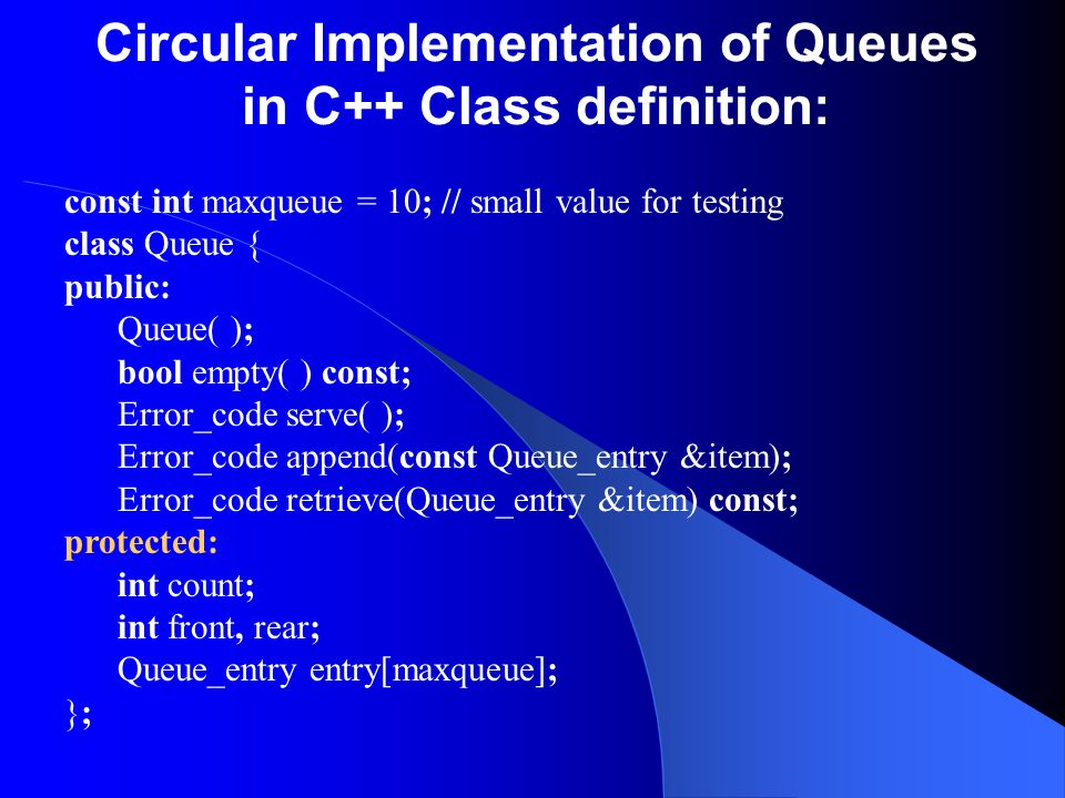 Circular Implementation of Queues in C++ Class definition: