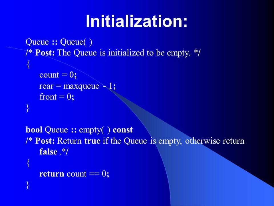 Initialization: Queue :: Queue( )