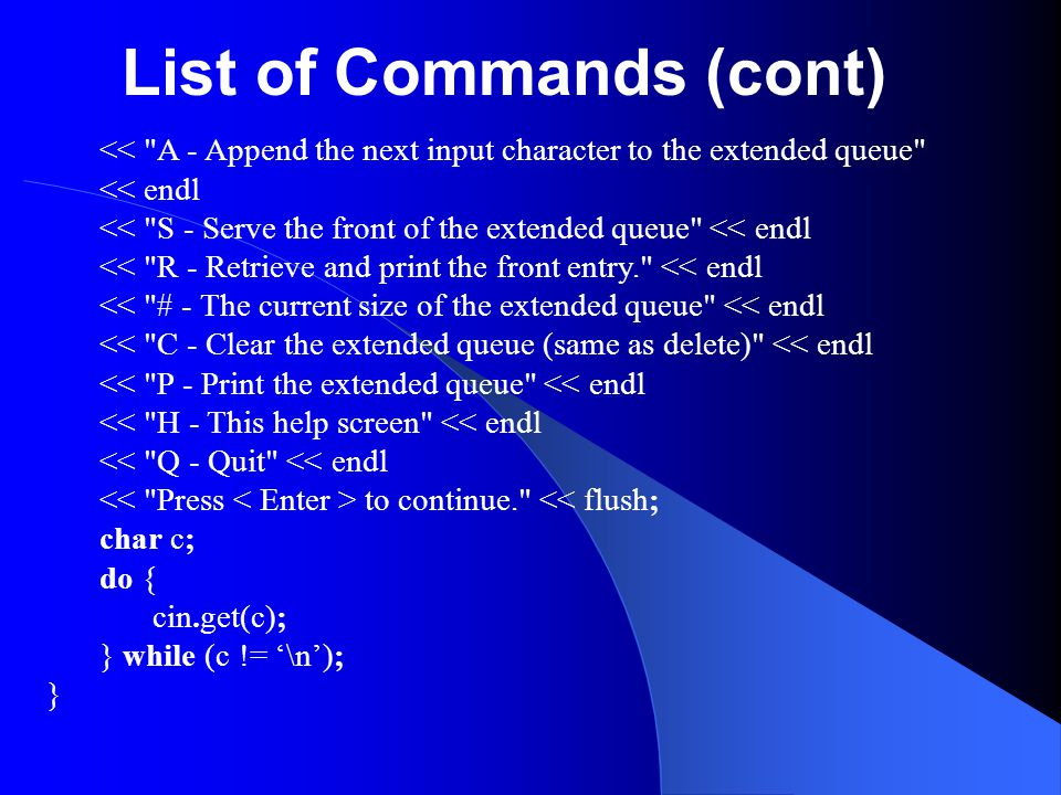 List of Commands (cont)