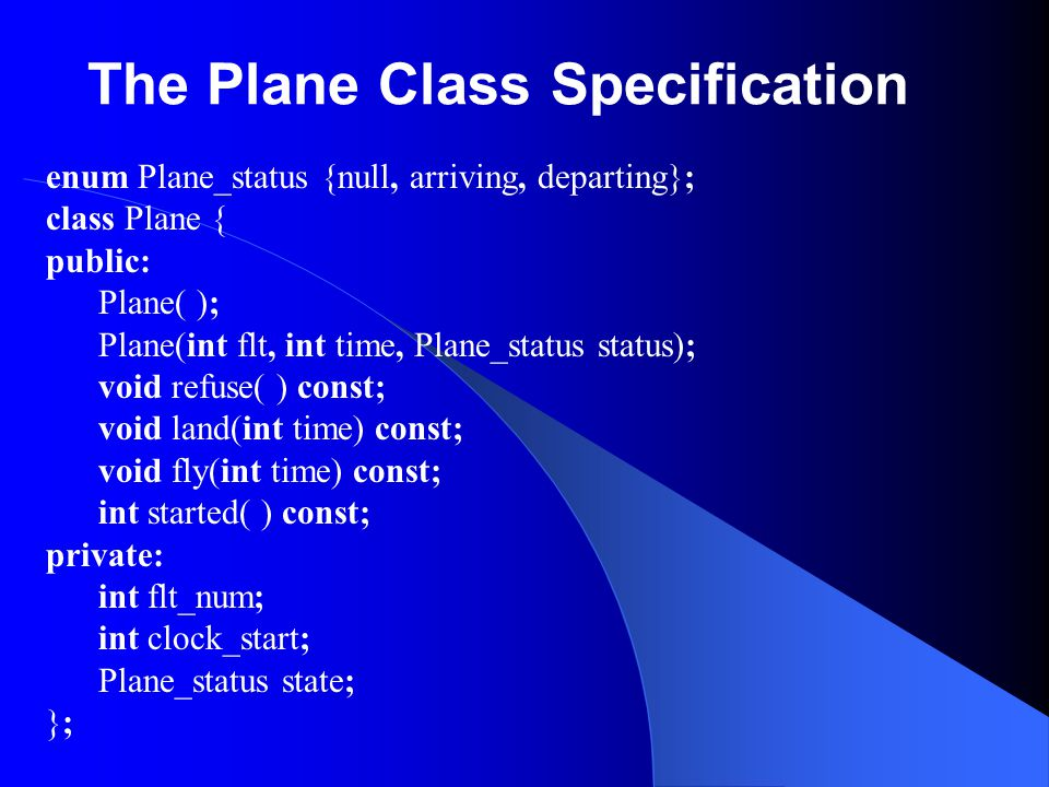 The Plane Class Specification