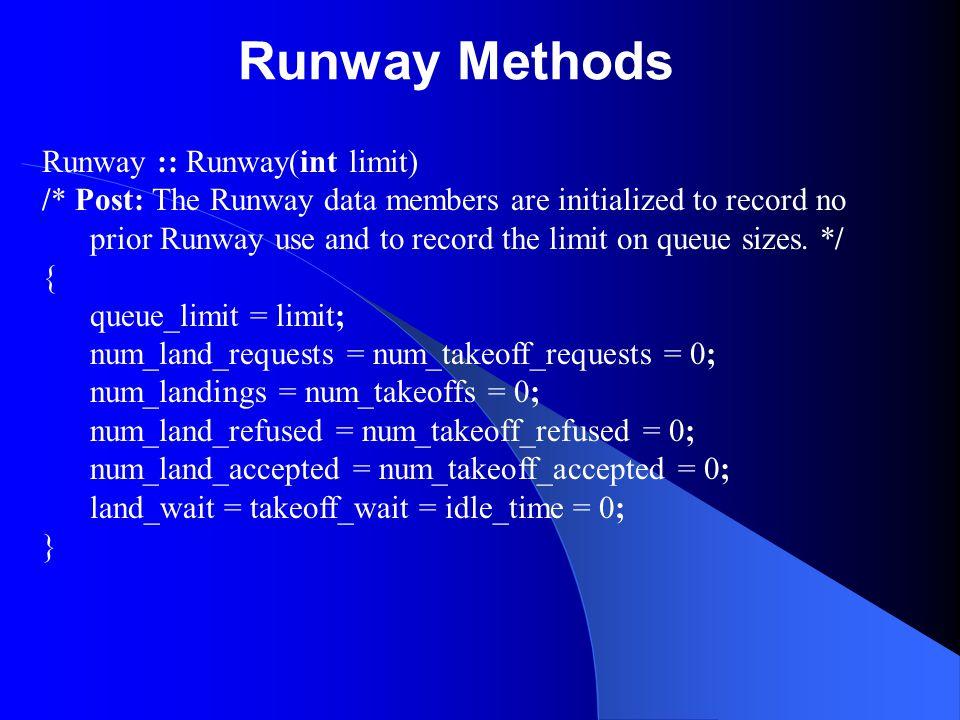 Runway Methods Runway :: Runway(int limit)