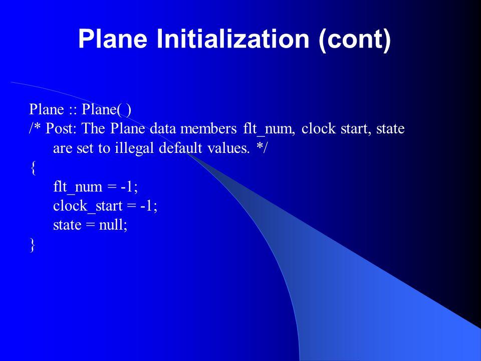Plane Initialization (cont)